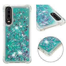 Dynamic Liquid Glitter Sand Quicksand TPU Case for Huawei P30 - Green Love Heart