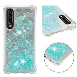 Dynamic Liquid Glitter Sand Quicksand TPU Case for Huawei P30 - Silver Blue Star