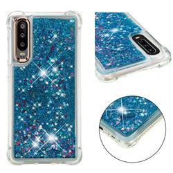 Dynamic Liquid Glitter Sand Quicksand TPU Case for Huawei P30 - Blue Love Heart