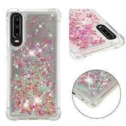 Dynamic Liquid Glitter Sand Quicksand TPU Case for Huawei P30 - Rose Gold Love Heart
