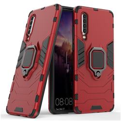 Black Panther Armor Metal Ring Grip Shockproof Dual Layer Rugged Hard Cover for Huawei P30 - Red