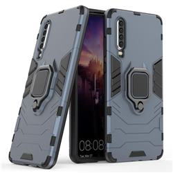 Black Panther Armor Metal Ring Grip Shockproof Dual Layer Rugged Hard Cover for Huawei P30 - Blue