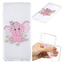 Tiny Pink Elephant Clear Varnish Soft Phone Back Cover for Huawei P30