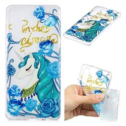 Blue Flower Unicorn Clear Varnish Soft Phone Back Cover for Huawei P30