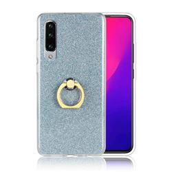 Luxury Soft TPU Glitter Back Ring Cover with 360 Rotate Finger Holder Buckle for Huawei P30 - Blue