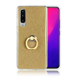 Luxury Soft TPU Glitter Back Ring Cover with 360 Rotate Finger Holder Buckle for Huawei P30 - Golden