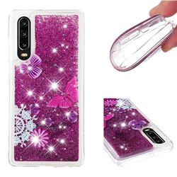 Purple Flower Butterfly Dynamic Liquid Glitter Quicksand Soft TPU Case for Huawei P30