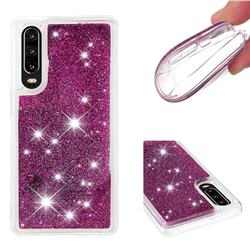 Dynamic Liquid Glitter Quicksand Sequins TPU Phone Case for Huawei P30 - Purple