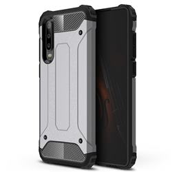 King Kong Armor Premium Shockproof Dual Layer Rugged Hard Cover for Huawei P30 - Silver Grey