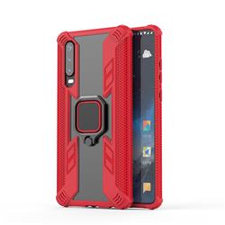 Predator Armor Metal Ring Grip Shockproof Dual Layer Rugged Hard Cover for Huawei P30 - Red