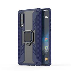 Predator Armor Metal Ring Grip Shockproof Dual Layer Rugged Hard Cover for Huawei P30 - Blue
