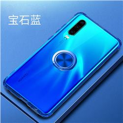 Anti-fall Invisible Press Bounce Ring Holder Phone Cover for Huawei P30 - Sapphire Blue