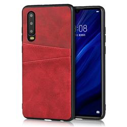 Simple Calf Card Slots Mobile Phone Back Cover for Huawei P30 - Red
