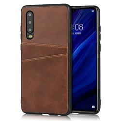Simple Calf Card Slots Mobile Phone Back Cover for Huawei P30 - Coffee
