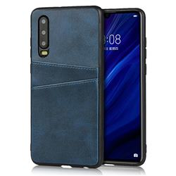 Simple Calf Card Slots Mobile Phone Back Cover for Huawei P30 - Blue