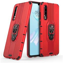 Alita Battle Angel Armor Metal Ring Grip Shockproof Dual Layer Rugged Hard Cover for Huawei P30 - Red