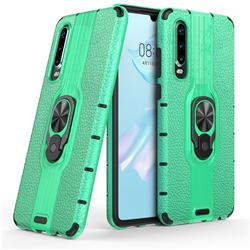 Alita Battle Angel Armor Metal Ring Grip Shockproof Dual Layer Rugged Hard Cover for Huawei P30 - Green