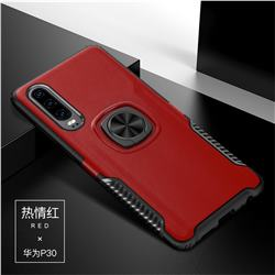Knight Armor Anti Drop PC + Silicone Invisible Ring Holder Phone Cover for Huawei P30 - Red