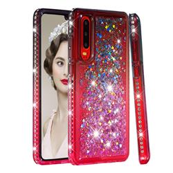 Diamond Frame Liquid Glitter Quicksand Sequins Phone Case for Huawei P30 - Gray Pink