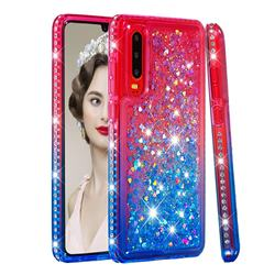 Diamond Frame Liquid Glitter Quicksand Sequins Phone Case for Huawei P30 - Pink Blue