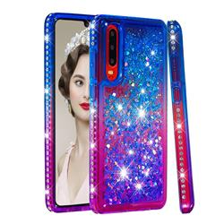 Diamond Frame Liquid Glitter Quicksand Sequins Phone Case for Huawei P30 - Blue Purple