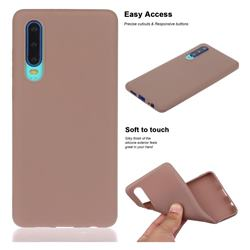 Soft Matte Silicone Phone Cover for Huawei P30 - Khaki