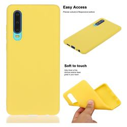 Soft Matte Silicone Phone Cover for Huawei P30 - Yellow