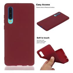 Soft Matte Silicone Phone Cover for Huawei P30 - Wine Red