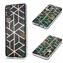 Green Rhombus Galvanized Rose Gold Marble Phone Back Cover for Huawei P30