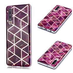 Purple Rhombus Galvanized Rose Gold Marble Phone Back Cover for Huawei P30