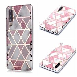 Pink Rhombus Galvanized Rose Gold Marble Phone Back Cover for Huawei P30