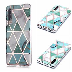 Green White Galvanized Rose Gold Marble Phone Back Cover for Huawei P30