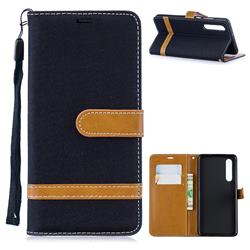 Jeans Cowboy Denim Leather Wallet Case for Huawei P30 - Black