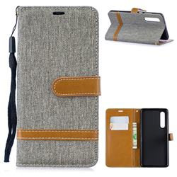 Jeans Cowboy Denim Leather Wallet Case for Huawei P30 - Gray
