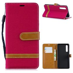 Jeans Cowboy Denim Leather Wallet Case for Huawei P30 - Red
