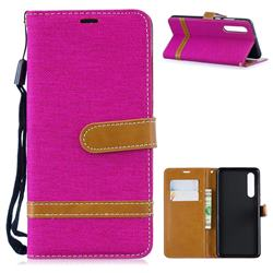 Jeans Cowboy Denim Leather Wallet Case for Huawei P30 - Rose