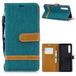 Jeans Cowboy Denim Leather Wallet Case for Huawei P30 - Green
