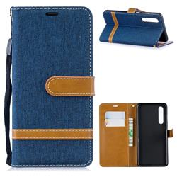 Jeans Cowboy Denim Leather Wallet Case for Huawei P30 - Dark Blue