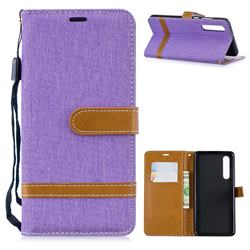 Jeans Cowboy Denim Leather Wallet Case for Huawei P30 - Purple