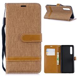 Jeans Cowboy Denim Leather Wallet Case for Huawei P30 - Brown