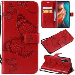 Embossing 3D Butterfly Leather Wallet Case for Huawei P30 - Red
