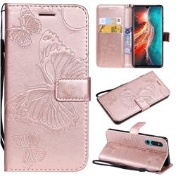 Embossing 3D Butterfly Leather Wallet Case for Huawei P30 - Rose Gold