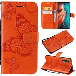 Embossing 3D Butterfly Leather Wallet Case for Huawei P30 - Orange