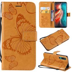 Embossing 3D Butterfly Leather Wallet Case for Huawei P30 - Yellow