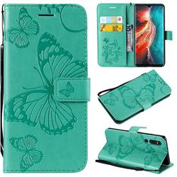 Embossing 3D Butterfly Leather Wallet Case for Huawei P30 - Green