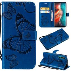 Embossing 3D Butterfly Leather Wallet Case for Huawei P30 - Blue