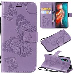 Embossing 3D Butterfly Leather Wallet Case for Huawei P30 - Purple