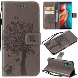 Embossing Butterfly Tree Leather Wallet Case for Huawei P30 - Grey
