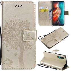 Embossing Butterfly Tree Leather Wallet Case for Huawei P30 - Champagne