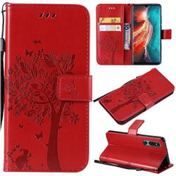 Embossing Butterfly Tree Leather Wallet Case for Huawei P30 - Red